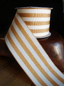 "Honey Gold & Ivory Woven Striped Ribbon 2 1/2""  - 2 1/2"" x 10Y"