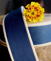 Denim Ribbon with Gold Stitching