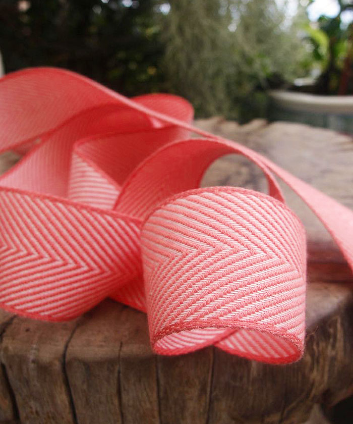 Coral Chevron Herringbone Cotton Ribbon