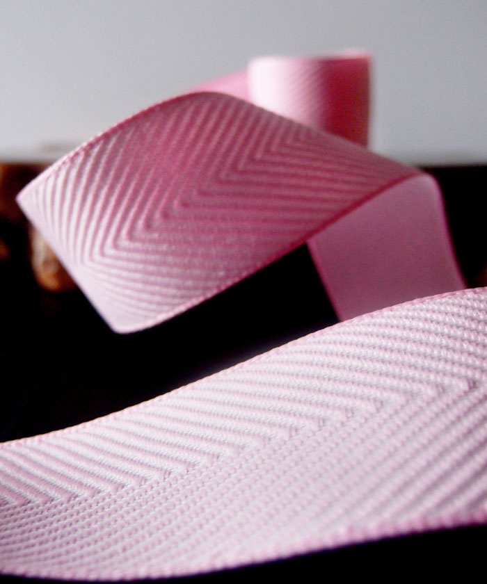 Pink Chevron Herringbone Cotton Ribbon