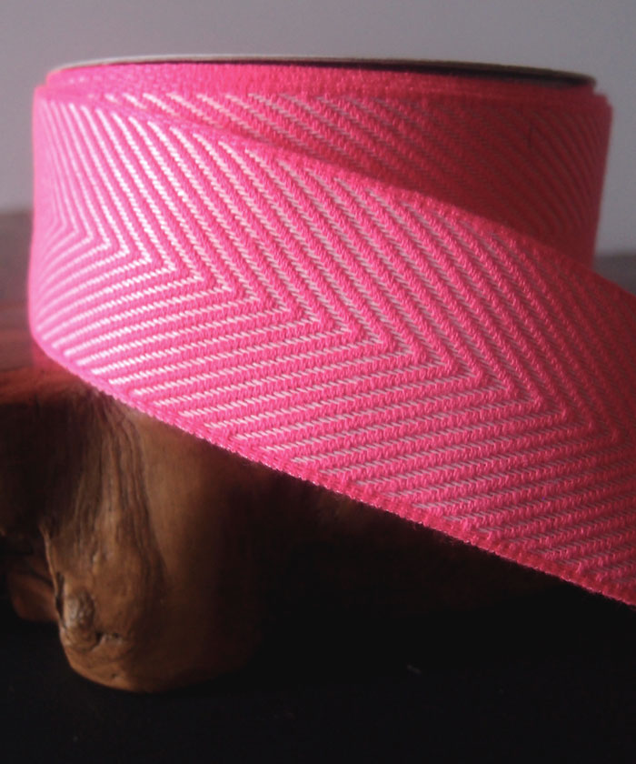 Hot Pink Chevron Herringbone Cotton Ribbon