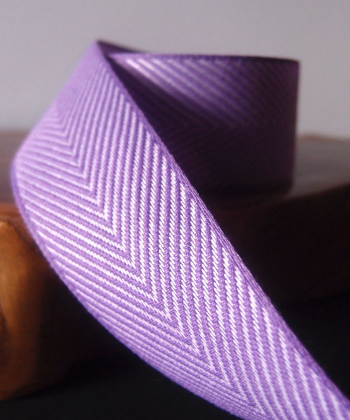 Purple Chevron Herringbone Cotton Ribbon