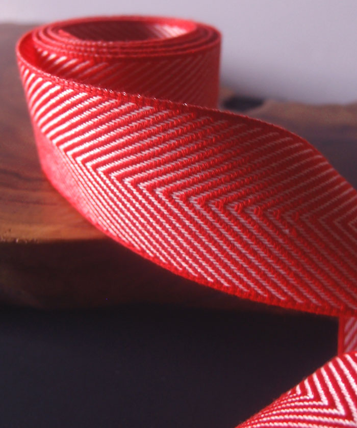 Red Chevron Herringbone Cotton Ribbon
