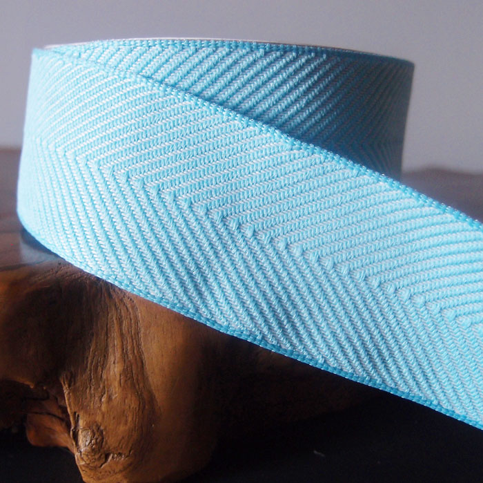 Light Blue Chevron Herringbone Cotton Ribbon