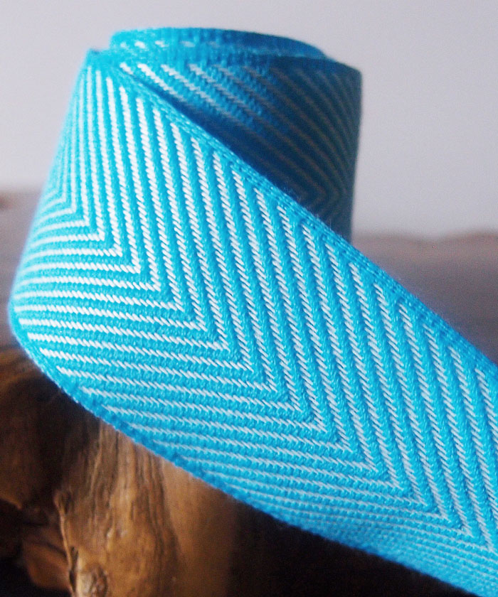 Blue Chevron Herringbone Cotton Ribbon