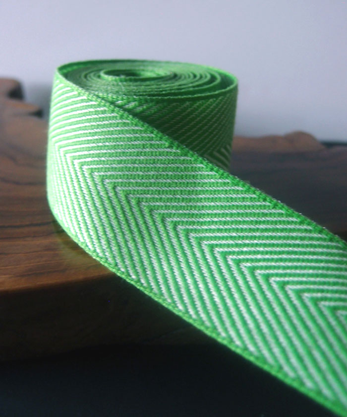 Green Chevron Herringbone Cotton Ribbon