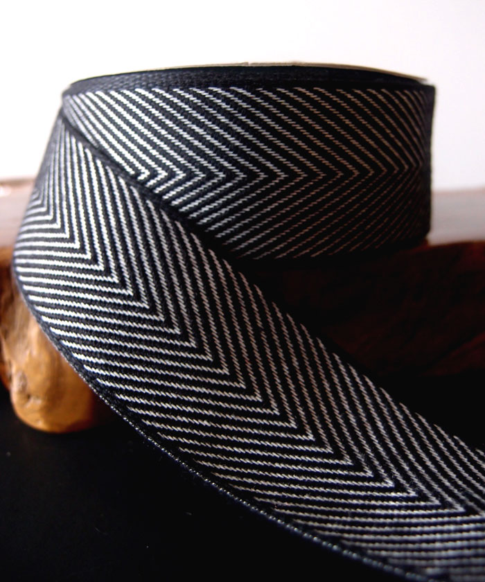 Black Chevron Herringbone Cotton Ribbon