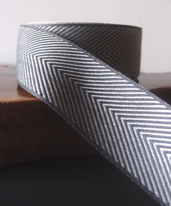 Gray Chevron Herringbone Cotton Ribbon