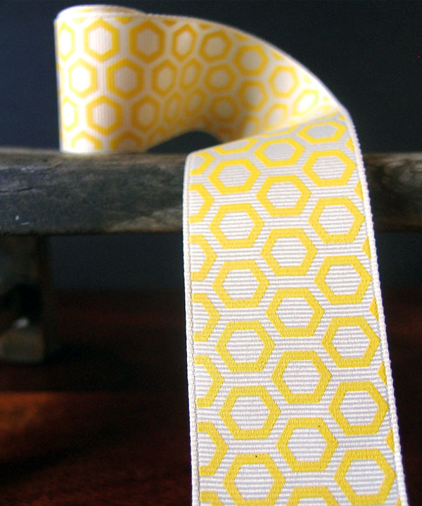 Hexagon Print Grosgrain Ribbon