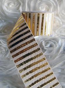 "Gold Metallic Candy Striped Ribbon - 2½""W x 10Y"
