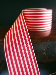 Red & Ivory Seersucker Striped Grosgrain - Red & Ivory Striped