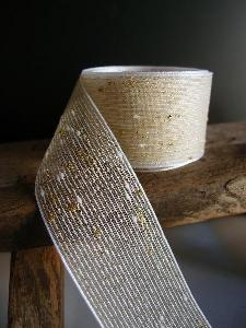 "Gold Metallic Tufted Cotton Twine Ribbon  - 1.5"" x 25Y"