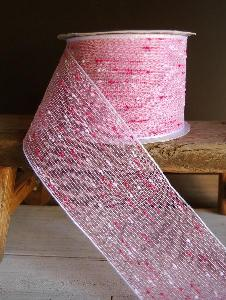 "Hot Pink Tufted Cotton Twine Ribbon 2.5 x 10Y - 2.5"" x 10Y"