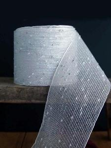 "Metallic Silver Tufted Cotton Twine Ribbon 2.5 x 10Y - 2.5"" x 10Y"