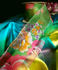 Green Sheer Floral Wired Ribbon