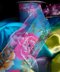 Blue Sheer Floral Wired Ribbon