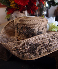 Wired Burlap Jute Ribbon with Black Butterfly Print