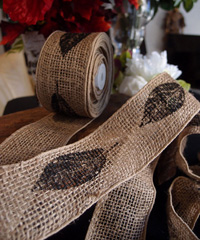 Wired Burlap Jute Ribbon with Black Leaf Print