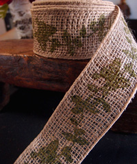 Wired Burlap Jute Ribbon with Green Butterfly Print