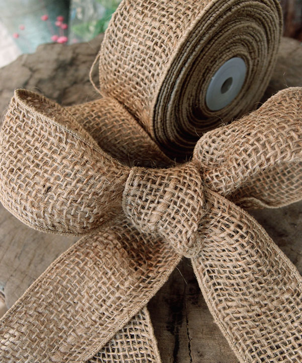 "Natural Burlap Wired Ribbon 2"" - 3 rolls minimum"