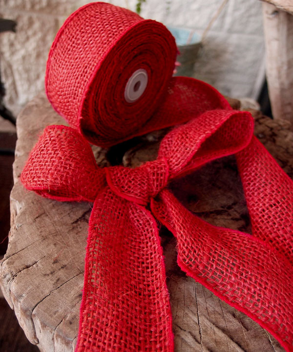 Red Burlap Wired Ribbon - 3 rolls minimum