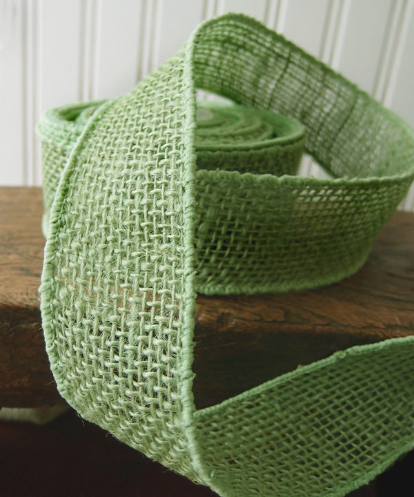 Green Burlap Wired Ribbon - 3 rolls minimum