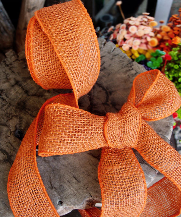 Orange Burlap Wired Ribbon - 3 rolls minimum