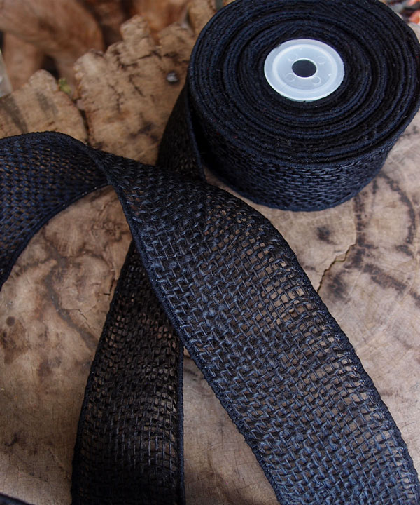 "Black Burlap Wired Ribbon 2"" - 3 rolls minimum"