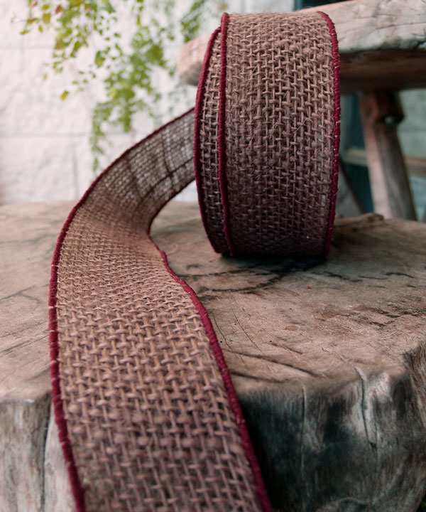"Brown Burlap Wired Ribbon 2"" - 3 rolls minimum"
