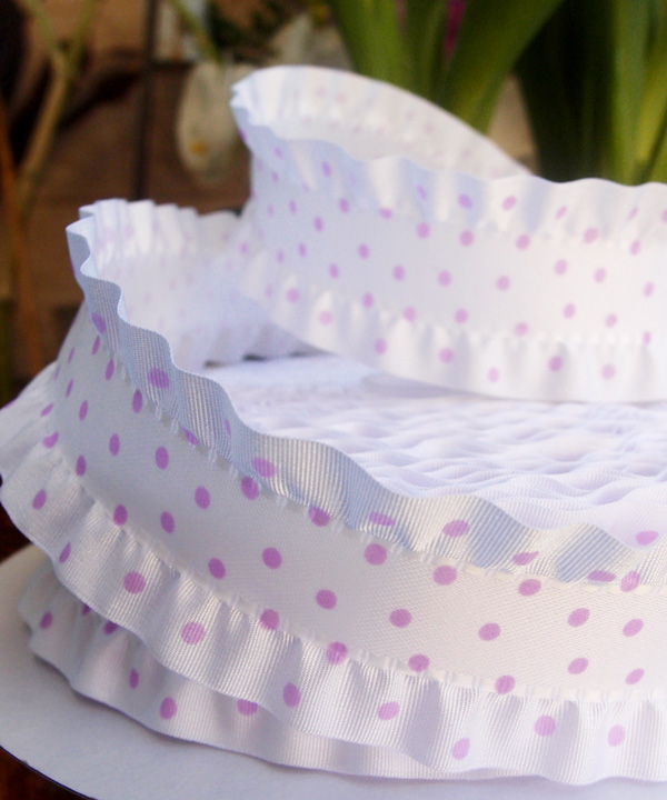 Ruffled Polka Dot Ribbon - 3 rolls minimum
