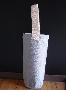 "Recycled Canvas Wine Tote - 3 ¾""D  x 10""H"
