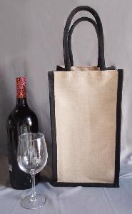 "Jute Blend Wine Tote - 2 Bottle -Black Trim - 8""W x 14""H x 4""D"