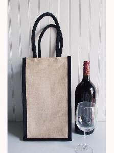 "Jute Blend Wine Tote - 4 Bottle -Black Trim - 8""x8""x14""H"