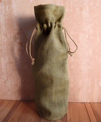 "Olive Green Jute Wine Bag - 6"" x 15"" x 3 1/2"""