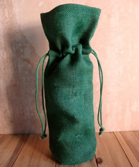 Hunter Green Jute Wine Bag