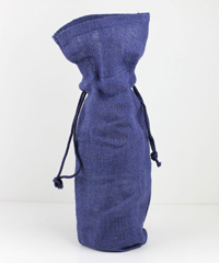 "Navy Blue Jute Wine Bag - 6"" x 15"" x 3 1/2"""