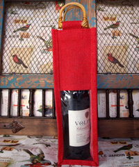 "Red Jute Wine Bag Cane Handles - 4"" x 4"" x 14"""