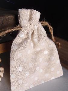 "Linen Bag White Dots - 3.5"" x 5"""