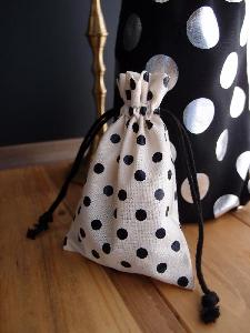 "Cotton Favor Bag with Black Dots 3.5 x 5  - 3.5"" x 5"""
