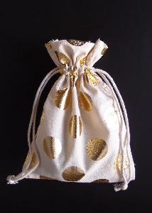 "Cotton Bag with Big Gold Metallic Dots  5x7 - 5"" x 7"""