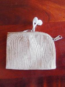 "Jute Blend Curved Zippered Pouch  - 5""W x 3.75"""