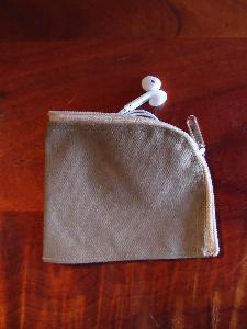 "Washed Brown Canvas Curved Zippered Pouch  - 5.5""W x 3.75"""