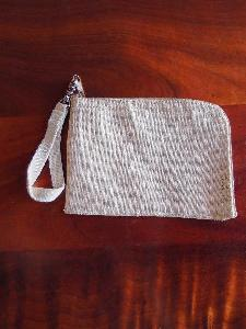"Jute Blend Curved Zippered Pouch w/ Loopie - 7""W x 5"""