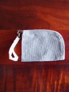 "Recycled Canvas Curved Zippered Pouch w/ Loopie - 7""W x 5"""