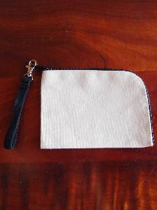 "Canvas Curved Pouch with Black Zipper and Loopie - 7""W x 5"""