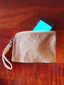 "Washed Brown Canvas Curved Zippered Pouch w/ Loopie - 7""W x 5"""