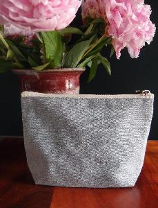 "Grey  Recycled Canvas Zipper Pouch  8"" - 8""W x 5.5""x 2"" Gusset"