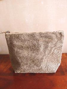 "Brown Canvas Zipper Pouch 8"" - 8""W x 5.5""x 2"""