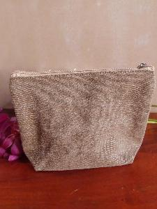 "Brown Canvas Zipper Pouch 10"" - 10""W x 7"" x 3""D"