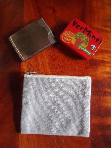 "Grey Recycled Canvas Zipper Pouch Small - 5.5""W x 4.5"""